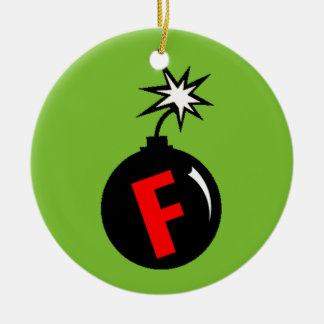F-Bombe Baum-Verzierung Rundes Keramik Ornament