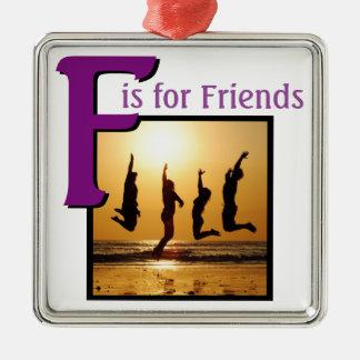 F für Freunde Quadratisches Silberfarbenes Ornament
