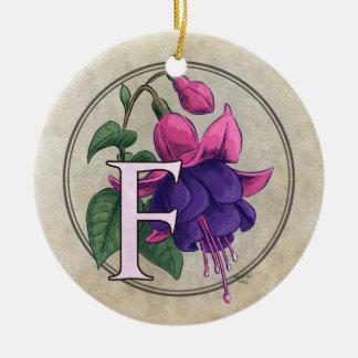F für pinkfarbenes Blumen-Monogramm Keramik Ornament