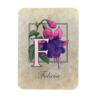 F für pinkfarbenes Blumen-Monogramm Magnet