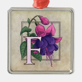 F für pinkfarbenes Blumen-Monogramm Silbernes Ornament