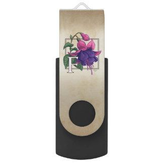 F für pinkfarbenes Blumen-Monogramm USB Stick