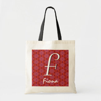 F-Monogramm-und rotes weißes Namensschwarzes W1513 Budget Stoffbeutel