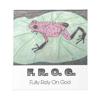 F.R.O.G. - Bauen Sie völlig auf Gott Notizblock