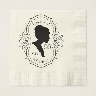 Fabelhaft bei fünfzig Miniatur-Dame Silhouette Papierserviette