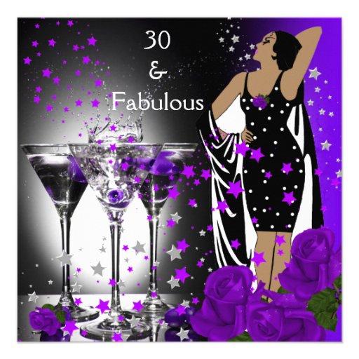 Fabelhafte 30 30. Geburtstags-lila Rosen Martini Personalisierte Ankündigungskarten
