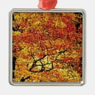 fabelhafte Fallfarbe Quadratisches Silberfarbenes Ornament
