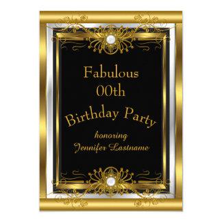 Fabelhafte Goldschwarz-Geburtstags-Party Einladung Karte