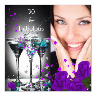Fabelhafter 30 Geburtstags-aquamarines lila Quadratische 13,3 Cm Einladungskarte