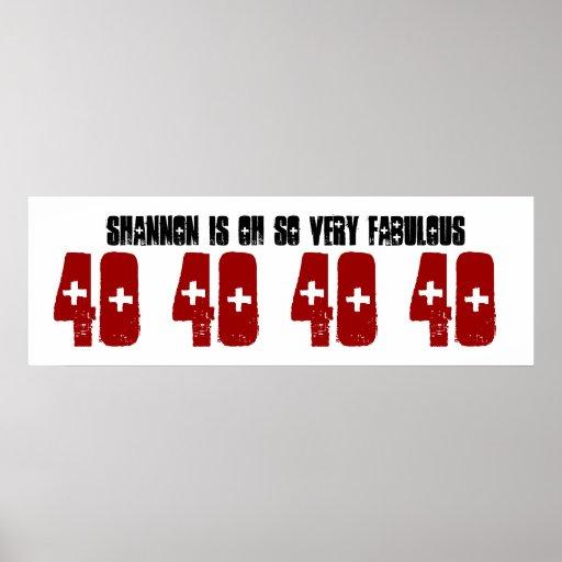Fabelhafter 40 Geburtstags-Party-Fahnen-individuel Plakatdrucke
