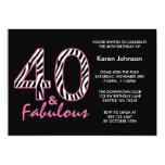 Fabelhafter 40. schwarzer und rosa personalisierte einladungskarten