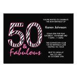Fabelhafter 50. schwarzer und rosa personalisierte ankündigungen