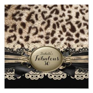 Fabelhafter schwarzer Leopard-Geburtstag 30 Quadratische 13,3 Cm Einladungskarte