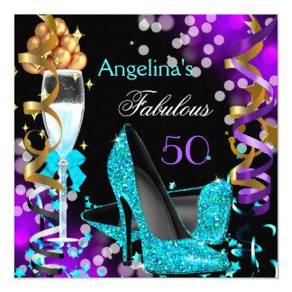 Fabelhaftes 50 aquamarines lila quadratische 13,3 cm einladungskarte
