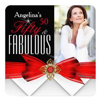 Fabelhaftes 50 Foto-rotes Goldeleganter moderner Quadratische 13,3 Cm Einladungskarte