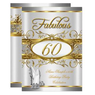 Fabelhaftes 60. Geburtstags-Goldsilber-hoher Heels Karte