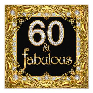 Fabelhaftes Diamant-Schwarz-60. Geburtstags-Party Quadratische 13,3 Cm Einladungskarte