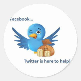 Facebook… Twitter hier, zum der Aufkleber zu