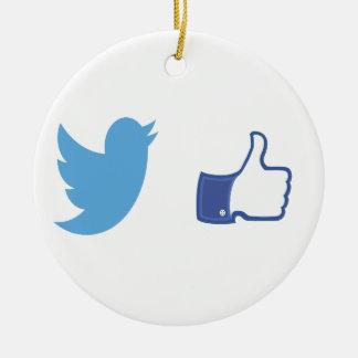 Facebook Twitter Keramik Ornament