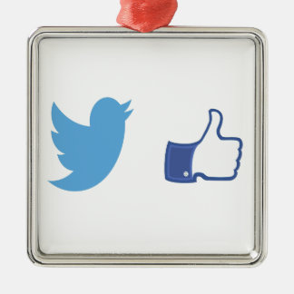 Facebook Twitter Silbernes Ornament