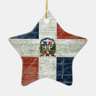 FAHNE AUS DER DOMINIKANISCHER REPUBLIK KERAMIK ORNAMENT