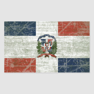 FAHNE AUS DER DOMINIKANISCHER REPUBLIK RECHTECKIGER AUFKLEBER