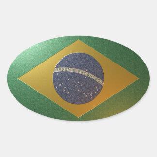 Fahne Brasiliens Metalizada Ovaler Aufkleber