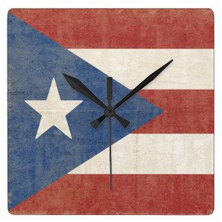 Fahne von Puerto Rico Quadratische Wanduhr