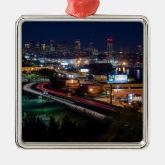 Fahren in Boston Silbernes Ornament