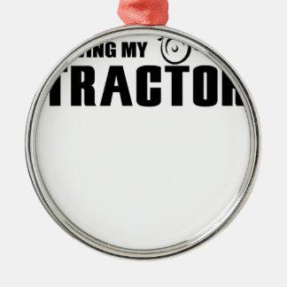 Fahren Sie meinen Traktor Silbernes Ornament