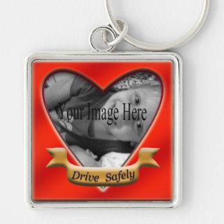 Fahren Sie sicher Foto-Herz Keychain Schlüsselanhänger