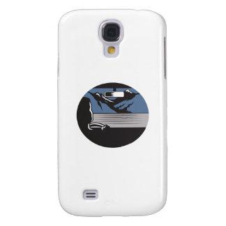 Fahrer, der Gebirgspass-Oval-Holzschnitt schaut Galaxy S4 Hülle