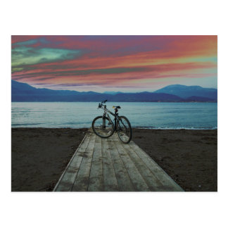 Fahrrad auf Pier | Griechenland Postkarte