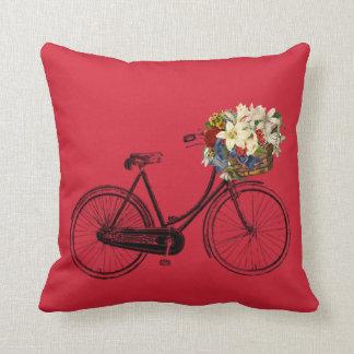 Fahrrad-Blume Throwkissen   der Aurora rotes Kissen