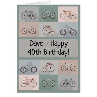 Fahrrad-Geburtstags-Karten-Mann-Mannesjunge Karte