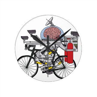 Fahrrad-Gehirn (Radfahrer des Jahres 3000) Runde Wanduhr