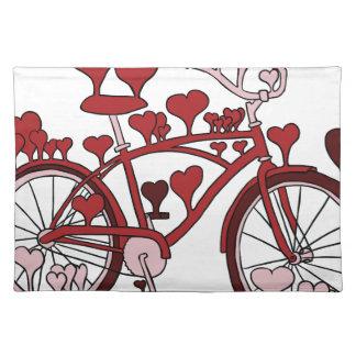 Fahrrad-Herzen Stofftischset