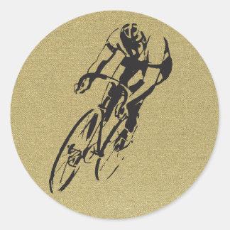 Fahrrad-Laufen Runder Aufkleber