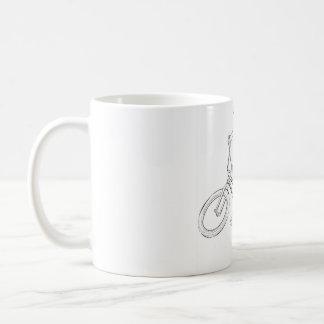 Fahrrad-Linie, die Schwarzes/Weiß zeichnet Kaffeetasse