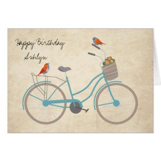 Fahrrad mit Vögeln Grußkarte
