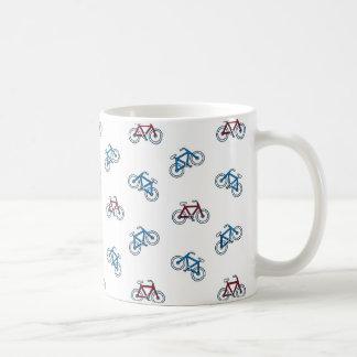 Fahrrad-Muster in Rotem und in Blauem Kaffeetasse