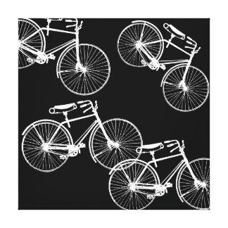Fahrrad-Parade-grafisches Muster in Schwarz-weißem Leinwanddruck