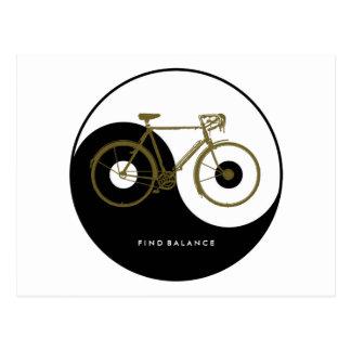 Fahrrad - radfahrend + Fahrrad Postkarte