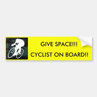 Fahrrad, RADFAHRER AN BORD!! , GEBEN SIE RAUM!!! Autoaufkleber