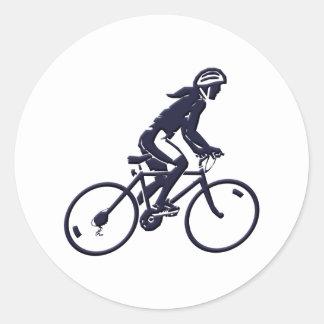 Fahrrad Radlerin bicycle bike rider Runder Aufkleber