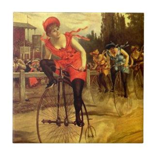 Fahrrad-Radrennenlaufen der Fliesen-antiken Frauen Kleine Quadratische Fliese