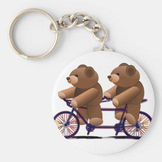 Fahrrad-Tandem, Teddybär-Druck Schlüsselanhänger
