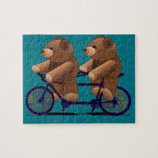 Fahrrad-TandemTeddybär-Druck Puzzle