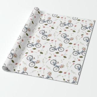 Fahrrad-u. Frühlings-Blumen - Verpackungspapier Geschenkpapier
