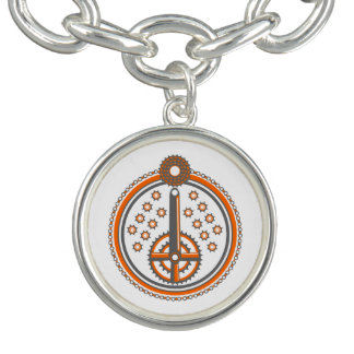 Fahrrad zerteilt Collagen-Illustration Charm Armband